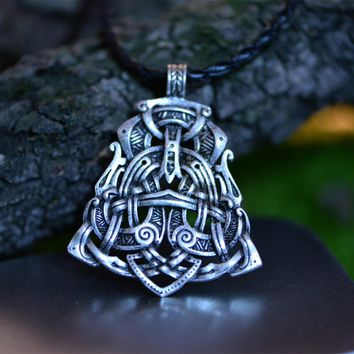 1pcs Langhong Legendry Nordic Viking Pendant Necklace The Scandinavian Double Dragon pendant Necklace Norse Jewelry Talisman