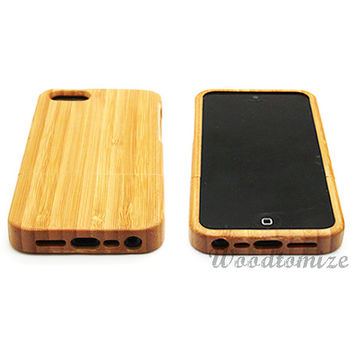 Real wood case, Real wood, iPhone 5C case, iPhone 5S 5 case, Bamboo, Cherry wood, Sapele wood, FREE screen protector