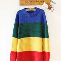 Bulk Women Rainbow Crayola Sweater Loose Bat Wings Multi-Color Knitted Sweaters Pullovers Wide Stripes Knitwear Fall Sweatshirt WY4007 50P