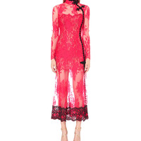 ALESSANDRA RICH Semi-sheer floral-lace gown