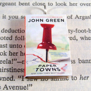 Miniature Classic Novels Book Necklace Charm Paper Towns by John Green