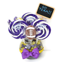 Small Football Lollipop Centerpiece (Custom Colors)