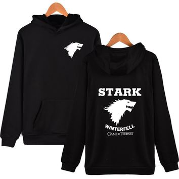 New Sale Brand Clothing Game Of Thrones House Stark Wolf Design Hooded Sweatshirt 5 Colors Big Size Hoodies Unisex/Men Tracksuit