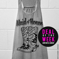 Cowgirl Boots Maid of Honor - Gray with Black Flowy Racerback Tank