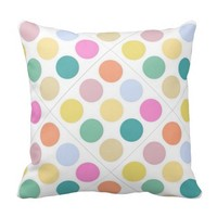 Multicolor Happy Bubbles Polka Dots Throw Pillows