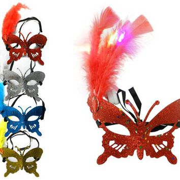 masquerade mask butterfly with led lights Case of 24