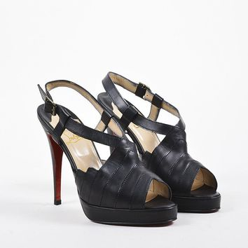 DCCK2 Christian Louboutin Black Leather Chevron Stitched City Girl Sandals