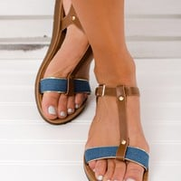 Beach Wave T-Strap Sandals (Denim)