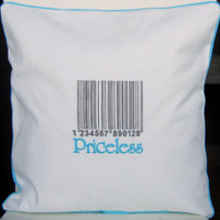 PRICELESS BARCODE embroidered decorative pillow cover, with trim finish, cotton