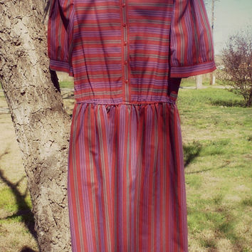 Melissa Lane Vintage Dress, Womens Size 14, Red Purple Green Stripes, Button Up Puff Sleeves, Farm Hipster