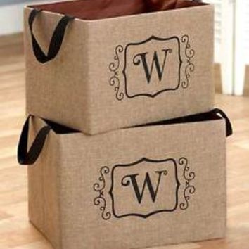 "Set of 2 Burlap Monogram Letter ""W"" Storage Oraganizer Bins Kid's Toys Books"