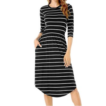 Three Quarter Dress Women Striped Fashion Irregular Knee Length O-Neck Casual Loose Dress Black White Vestidos de festa