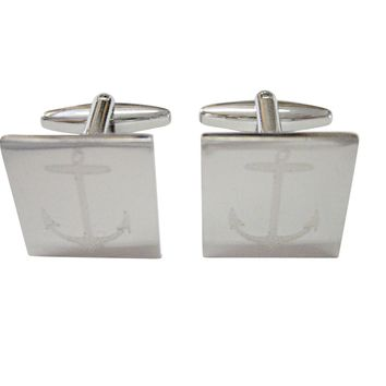 Silver Toned Etched Skinny Nautical Anchor Cufflinks