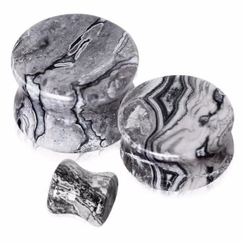 Natural Wave Jasper Stone Saddle Plug