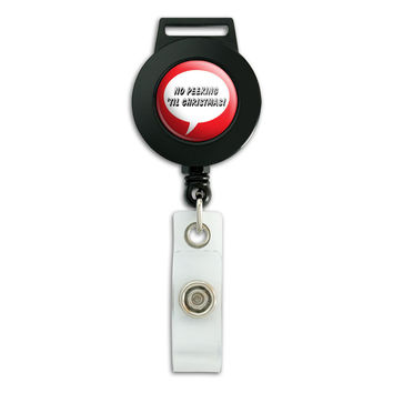 No Peeking Til Christmas Retractable Badge Card ID Holder