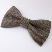 Brown tweed bow tie mens pre tied adjustable or clip on style fall menswear fashion