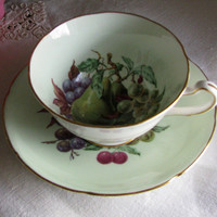 Royal Grafton Fine Bone China Pastel Green, Rich Mixed Fruit Festival Vintage Teacup And Saucer Gift For Her Mothers Day 2 Piece Tea Set