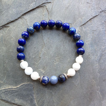 The Throat Chakra - Genuine Lapis Lazuli, Blue Calcite & Sodalite Sterling Silver Bracelet - Positive Energy