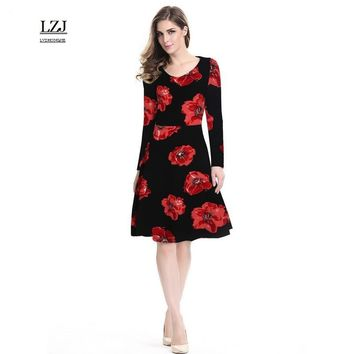 LZJ high quality work female dress new summer clothing vestidos retro O collar long sleeve print flower stitching dress size L38