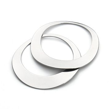 10pcs/lot 45x35mm Silver Tone Stainless Steel Round Circle Pendants Blank Stamping Tags For Necklace Jewelry Making F3426
