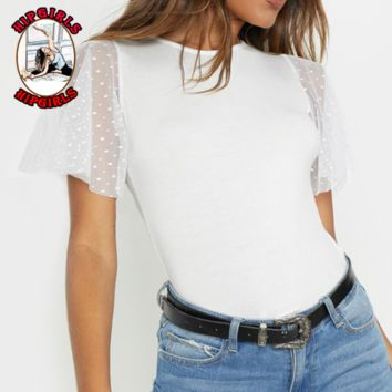 New fashion solid color lace mesh top women White