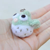 Needle Felt Puffer Fish Miniature, needle felted animal, pufferfish keychain, animal keychain, miniature pufferfish, balloon fish figurine