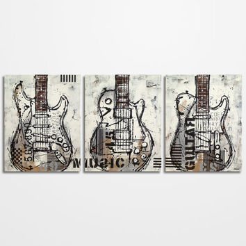 Guitar painting, Music Art, Gift for Musician, Les Paul, Guitar Art, Original Large Black White Gray Brown Painting on canvas -  triptych
