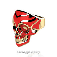 Mens Modern Italian 14K Yellow Gold Red Enamel Skull Ring R635-14KYGRE