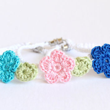 Crochet Flower Bracelet - Custom Crochet Jewelry - Easter Egg Surprise Gift - Easter Basket - Little Girl Gift