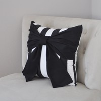 Throw Pillow Black Bow on Black and White Stripe Pillow 14x14 -Black and White Stripe Pillow-