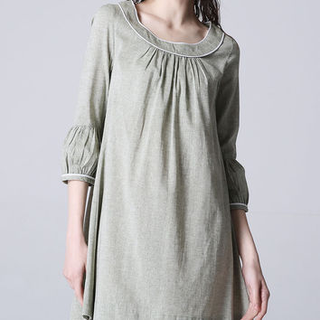 Gray shirt dress woman linen dress mini dress (1186)