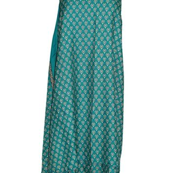 Magic Wrap Skirts Floral Printed Premium Silk Sari Green Reversible Beach Dress ... ... ...