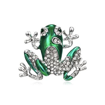 Shiny Green Enamel And Crystal Frog Brooch Pin