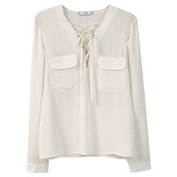 Drawstring Neck Blouse