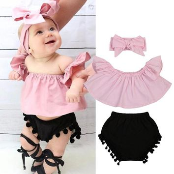Pudcoco 3PCS Summer Cute Baby Girls Fashion Outfit Newborn Baby Girl Clothes Set Off Shoulder Top T-Shirt+Shorts Pants