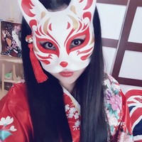 Japanese Private custom wind fox mask painted cat Natsume's Book of Friends pulp fox half face mask cosplay Halloween DIY
