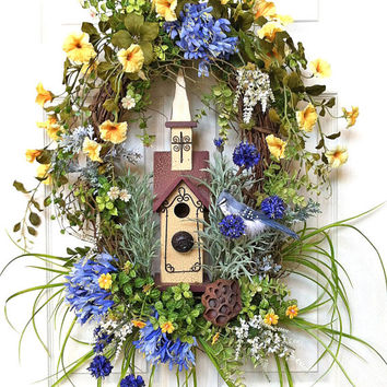 Birdhouse Silk Floral Wreath