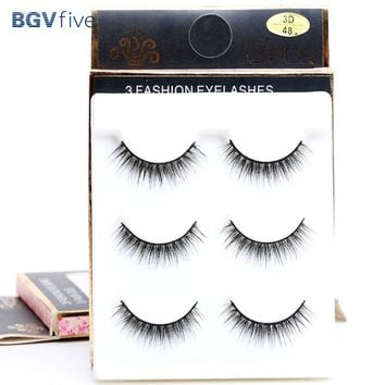 3 Pairs Natural Long 3D False Eyelashes Makeup Handmade Natural Slim Extension Tools