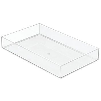 "InterDesign Clarity Kitchen Drawer Organizer for Silverware, Spatulas, Gadgets - 8"" x 12"" x 2"", Clear"