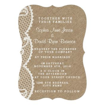 Rustic Burlap and Lace Wedding Custom 5x7 Paper Invitation Card