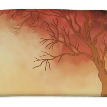 Bath Mat, Watercolor Painting Autumn Tree