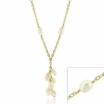 18K Gold over Sterling Silver Freshwater Cultured Pearls Dangling Y Cluster Necklace