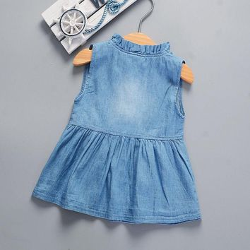 Denim Baby Girl Princess Dress Kid Baby Party Wedding Pageant Dresses Clothes Girls Kids Clothing Costumes
