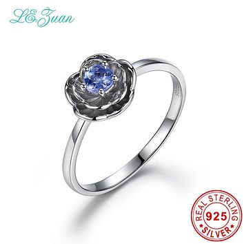 I&zuan 925 Sterling Silver Jewelry Flower Rings 0.2ct Natural Tanzanite Lotus Fine jewelry For Women Vintage Retro Wedding Ring