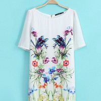 White Asuka Symmetry Print Short Sleeve Zipper Mini Shift Dress