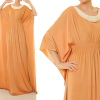 Pastel Brown Dubai Kaftan Maxi Dress, Pearl Embellished Abaya Kaftan Dress - Free Size Fits S/M/L (6341)