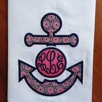 White Linen/Cotton Guest Towel with Pink and Navy Anchor Appliqué,Monogrammed/Personalized Anchor Appliqué in Pink/Navy,Beach House Towel