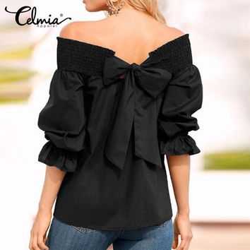 Celmia 2017 Sexy Off Shoulder Autumn Spring Strapless Women Blouse Bowknot Tops Slash Neck Shirts Casual Loose Blusas Plus Size