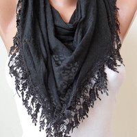 Black Scarf with Black Trim Edge - Black Leopard Fabric - Triangular
