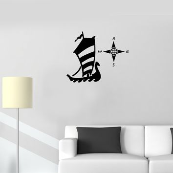 Wall Decal Sailboat Ship Sea Ocean Travel Compass Vinyl Sticker Unique Gift (ed810)